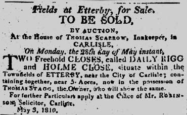 Advert Thomas Scarrow's White Hart Hotel, Carlisle