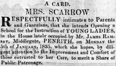 Mrs Scarrow opens Penrith School 1835