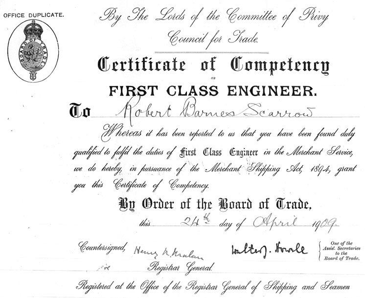 First Engineers Certificate of Competency