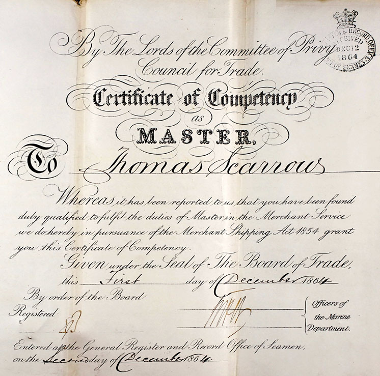 Thomas Scarrow, Master's Certificate of Competency