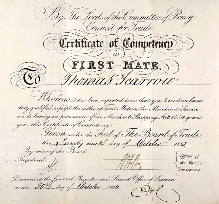 Thomas Scarrow, 1st Mate Certificate of Competency 1862