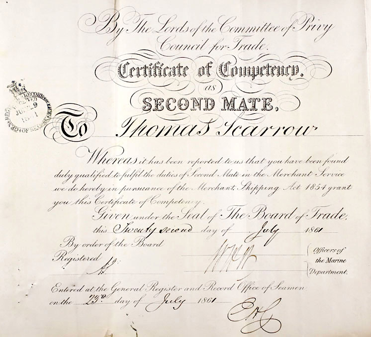 Thomas Scarrow's Second Mate Certificate of Competency 1861