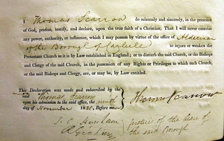 Thomas Scarrow's Alderman's Oath, Carlisle Council 1838