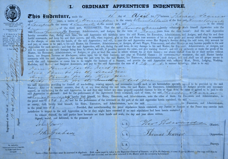 Thomas Scarrow, Apprentices Indenture 1857