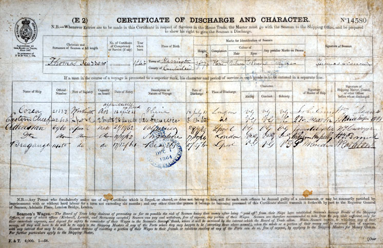 Thomas Scarrow's Certificate of Discharge and Character 1861-1864