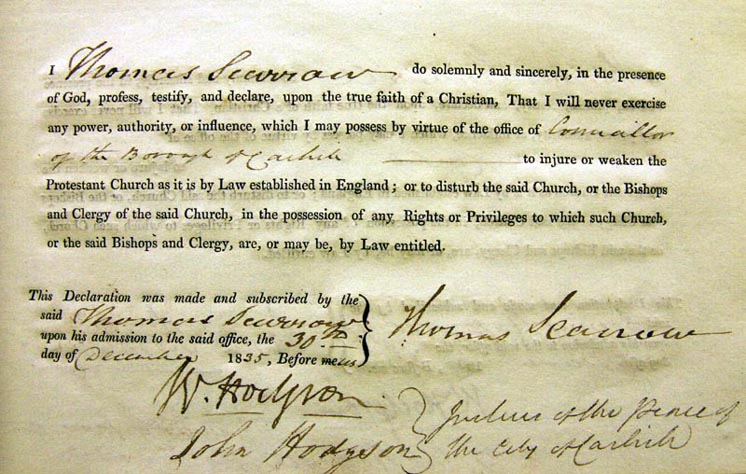Thomas Scarrow's Oath for Councillor of Carlisle, 1835