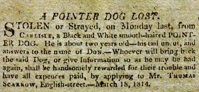 Thomas Scarrow loses dog. Carlisle 1814