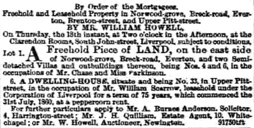 Sale of house 33 Upper Pitt St, Liverpool in occupation of William Scarrow, Aug 1864