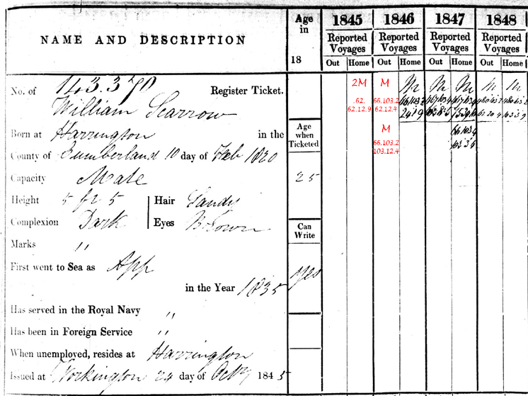 BT113/72 Register of Seamen's Tickets, William Scarrow